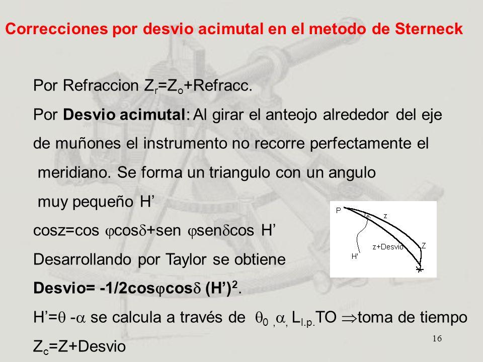Correcciones por desvio acimutal en el metodo de Sterneck