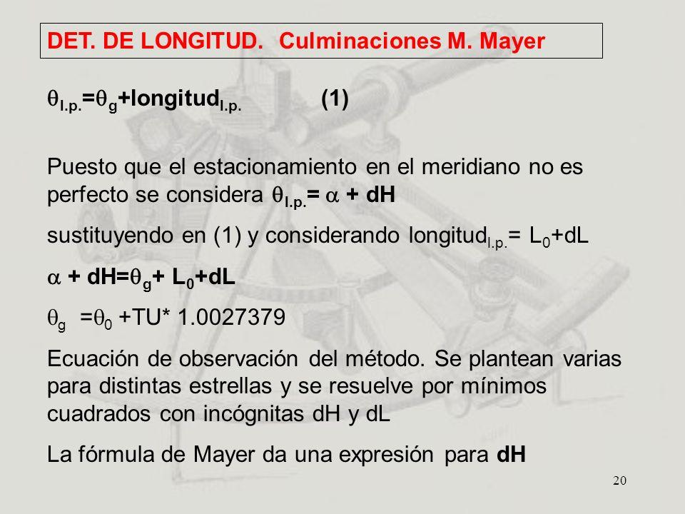 DET. DE LONGITUD. Culminaciones M. Mayer