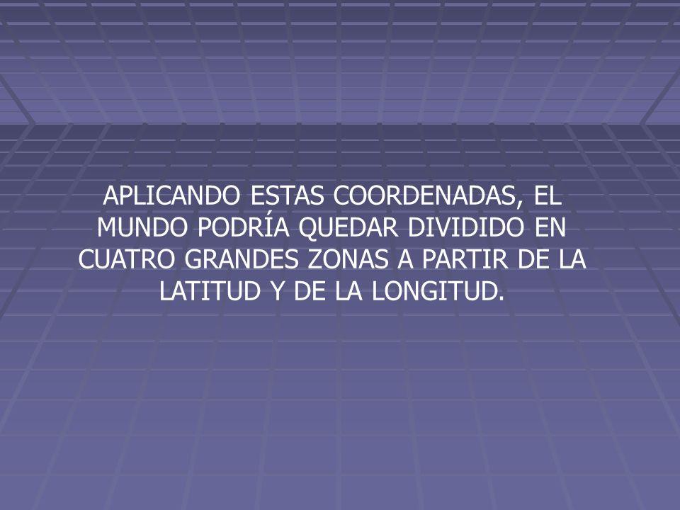 APLICANDO ESTAS COORDENADAS, EL MUNDO PODRÍA QUEDAR DIVIDIDO EN CUATRO GRANDES ZONAS A PARTIR DE LA LATITUD Y DE LA LONGITUD.