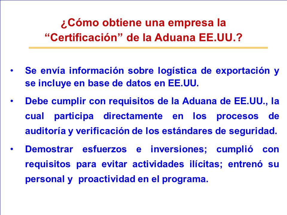 ¿Cómo obtiene una empresa la Certificación de la Aduana EE.UU.