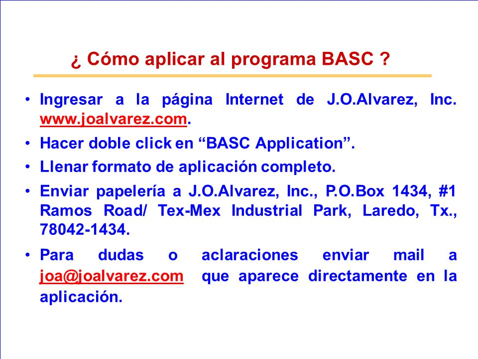 ¿ Cómo aplicar al programa BASC