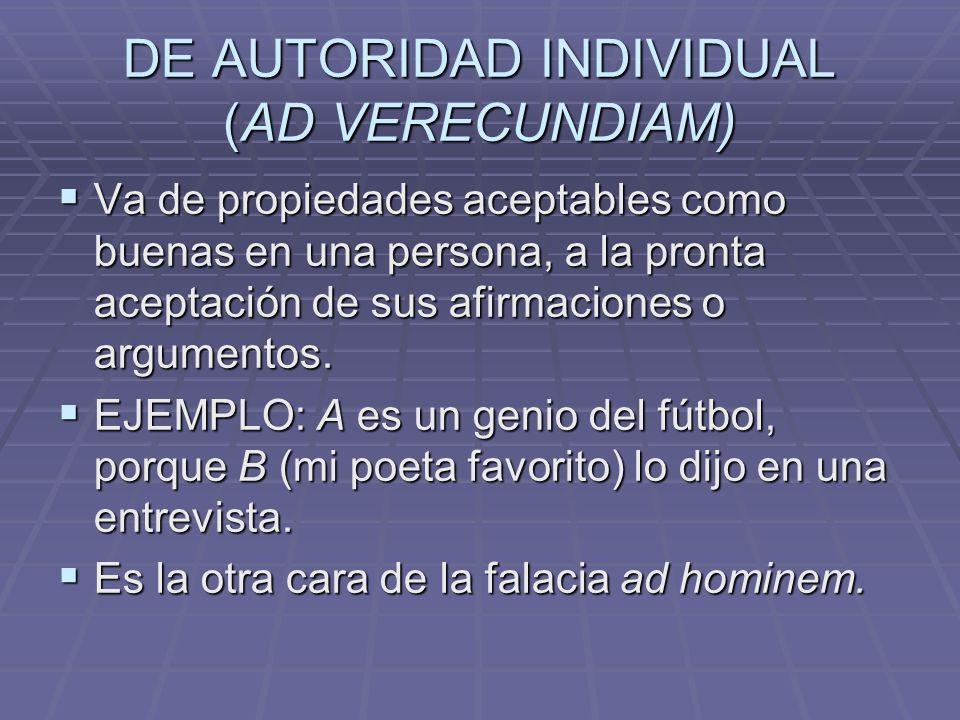 DE AUTORIDAD INDIVIDUAL (AD VERECUNDIAM)