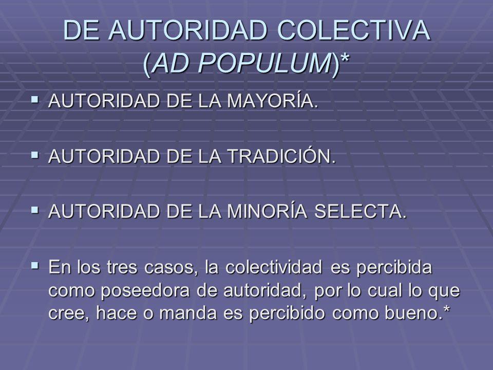 DE AUTORIDAD COLECTIVA (AD POPULUM)*
