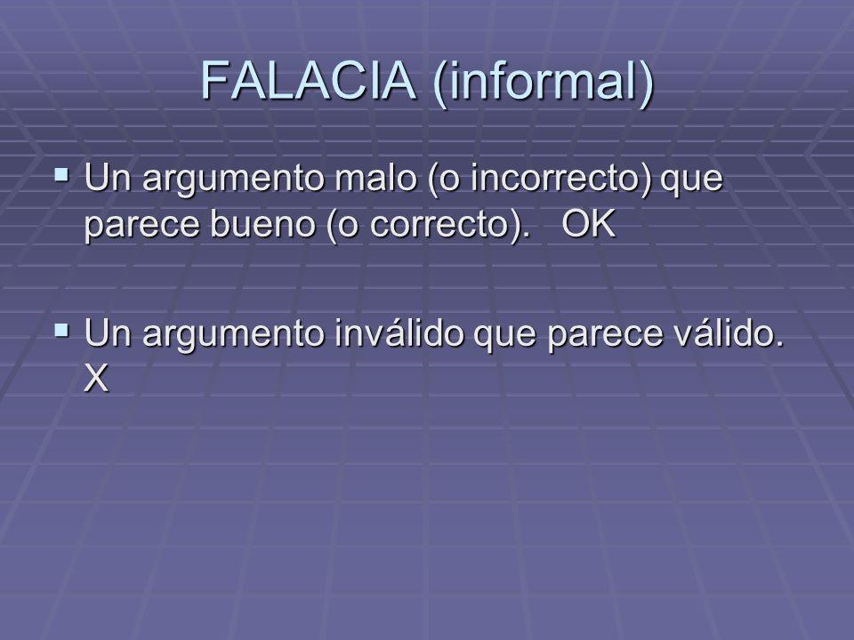 FALACIA (informal) Un argumento malo (o incorrecto) que parece bueno (o correcto).