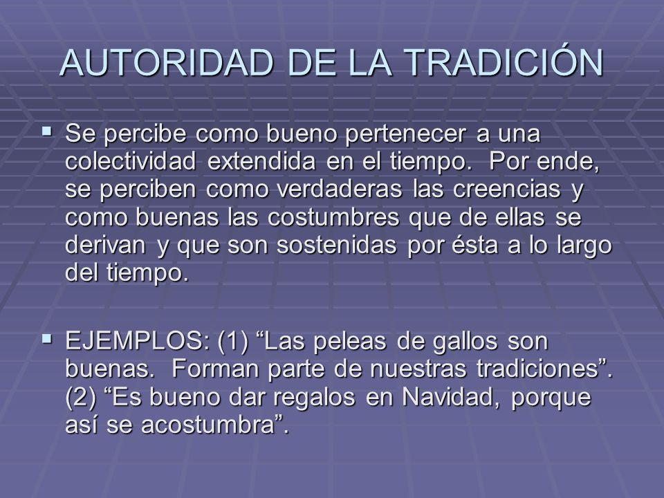 AUTORIDAD DE LA TRADICIÓN