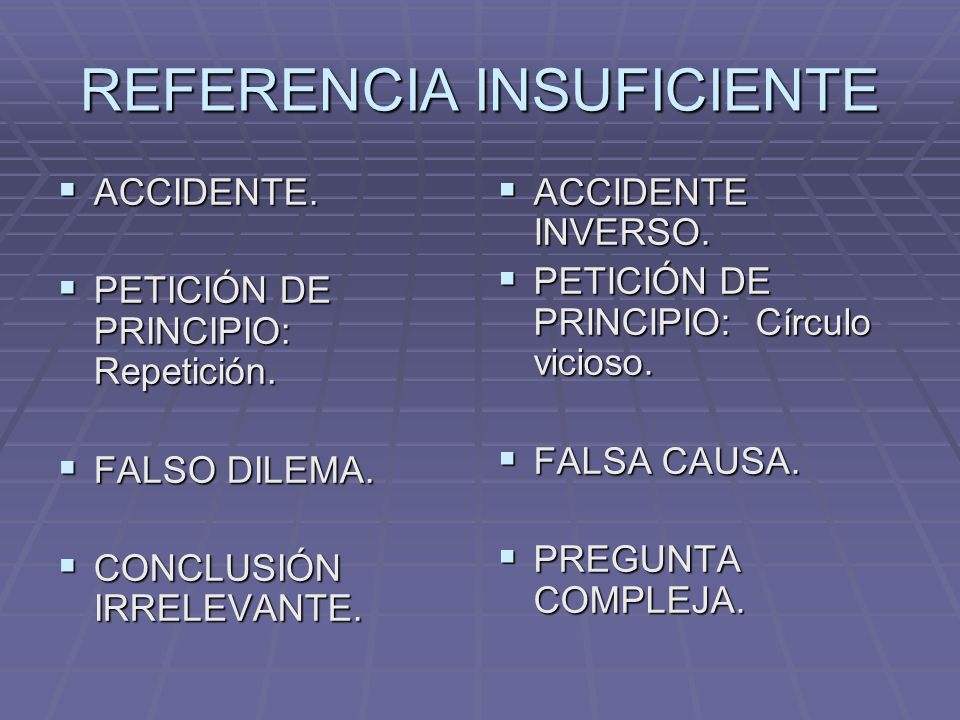 REFERENCIA INSUFICIENTE