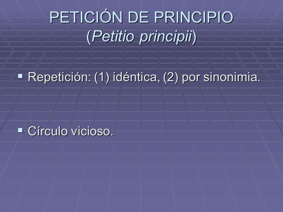 PETICIÓN DE PRINCIPIO (Petitio principii)