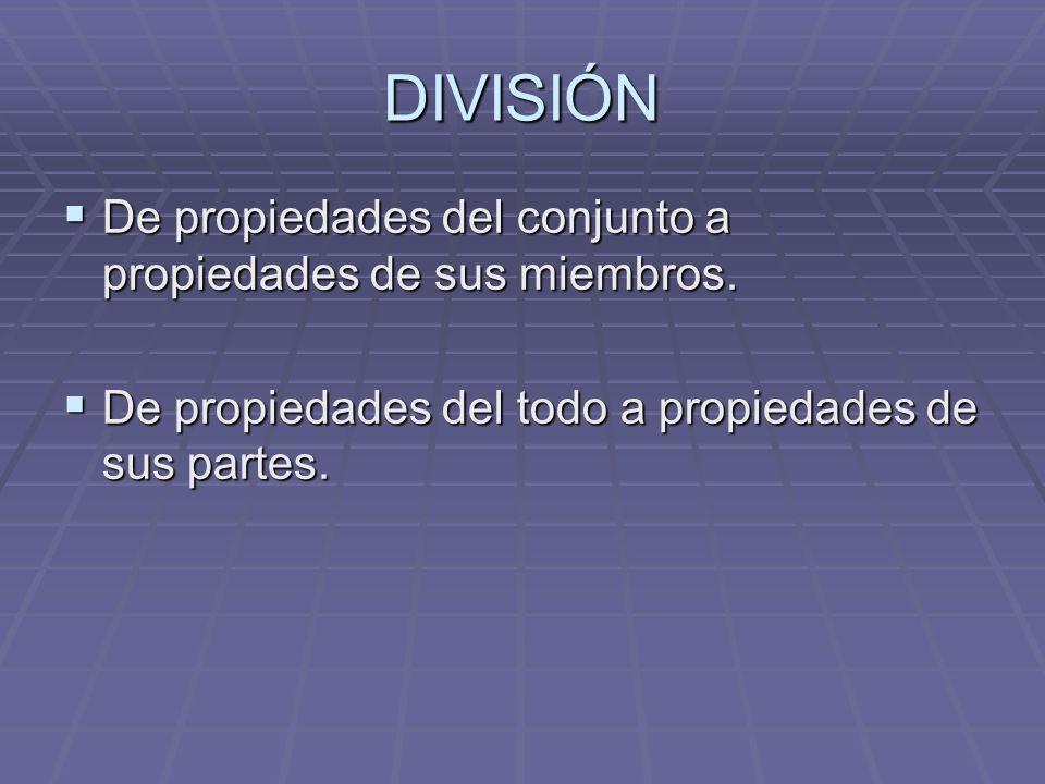 DIVISIÓN De propiedades del conjunto a propiedades de sus miembros.