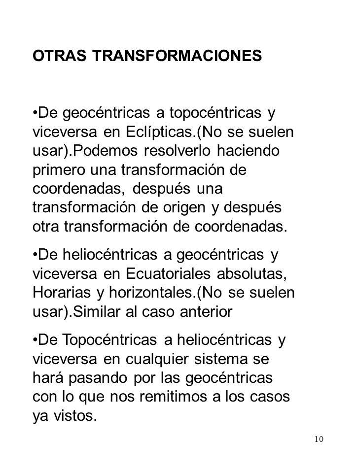 OTRAS TRANSFORMACIONES