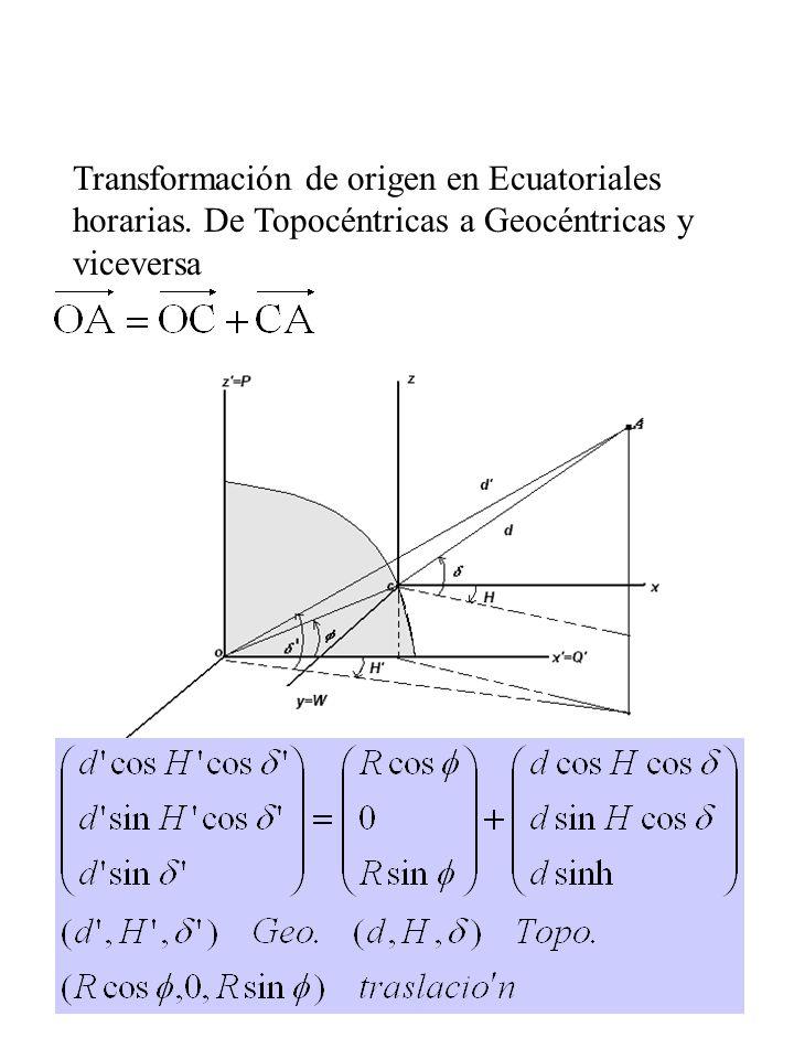 Transformación de origen en Ecuatoriales horarias