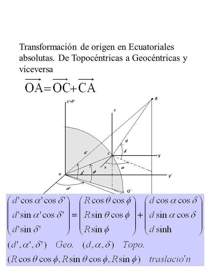 Transformación de origen en Ecuatoriales absolutas