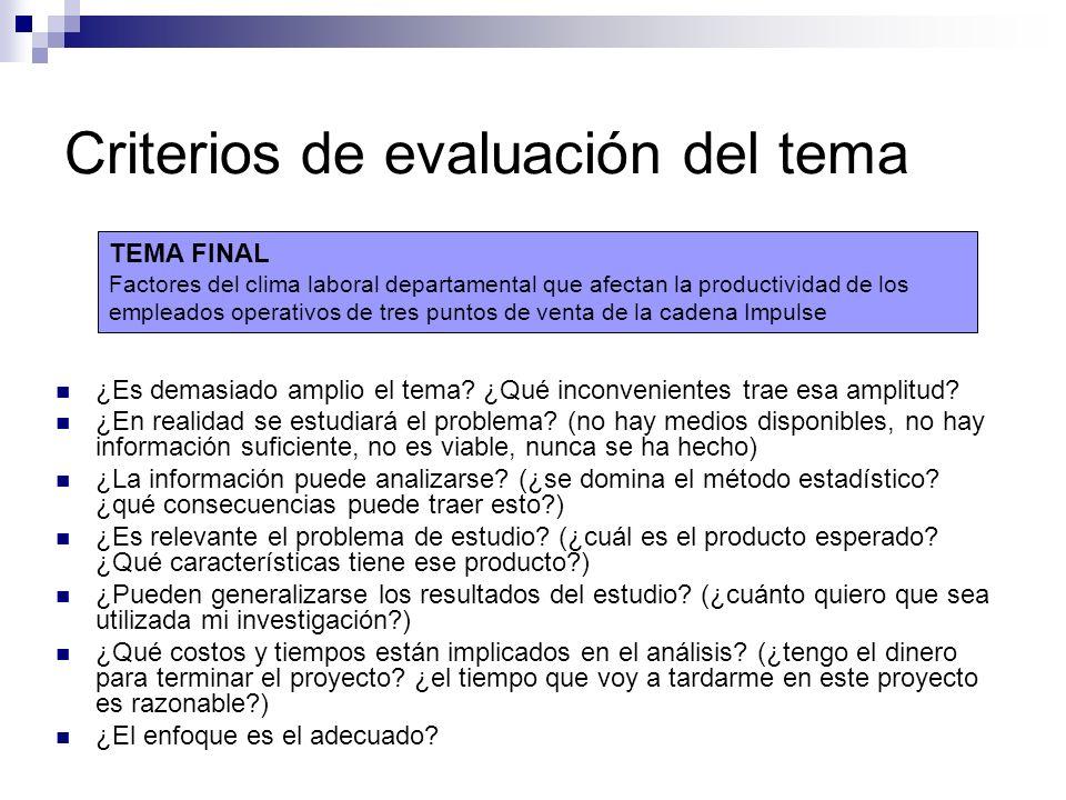 Criterios de evaluación del tema
