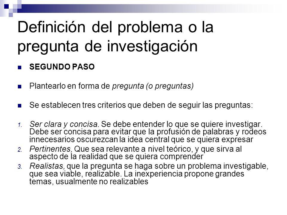 Definición del problema o la pregunta de investigación