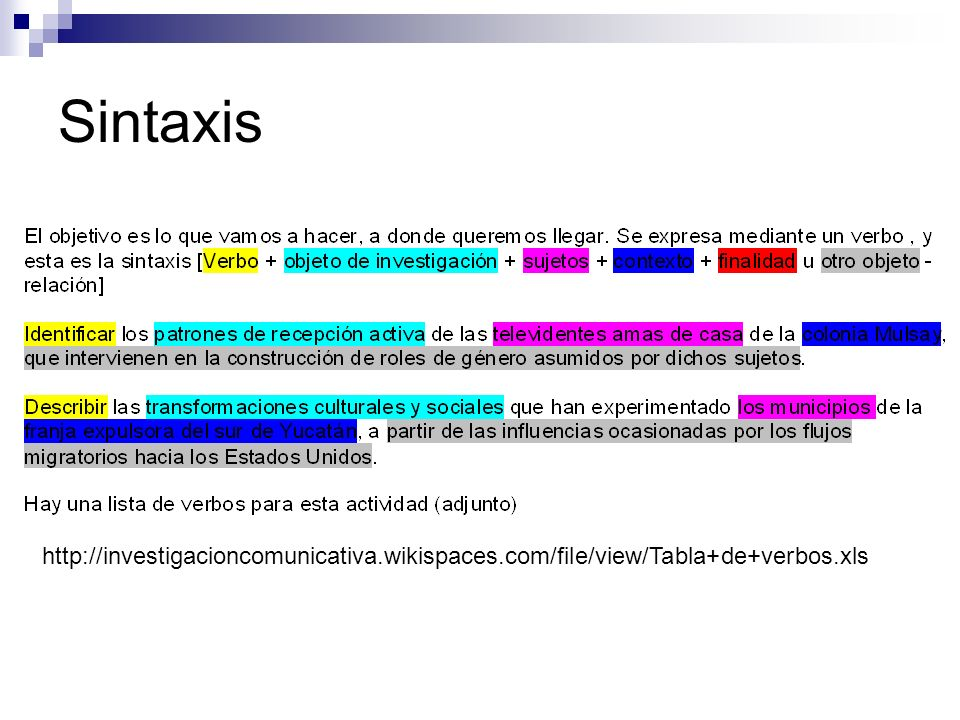 Sintaxis http://investigacioncomunicativa.wikispaces.com/file/view/Tabla+de+verbos.xls