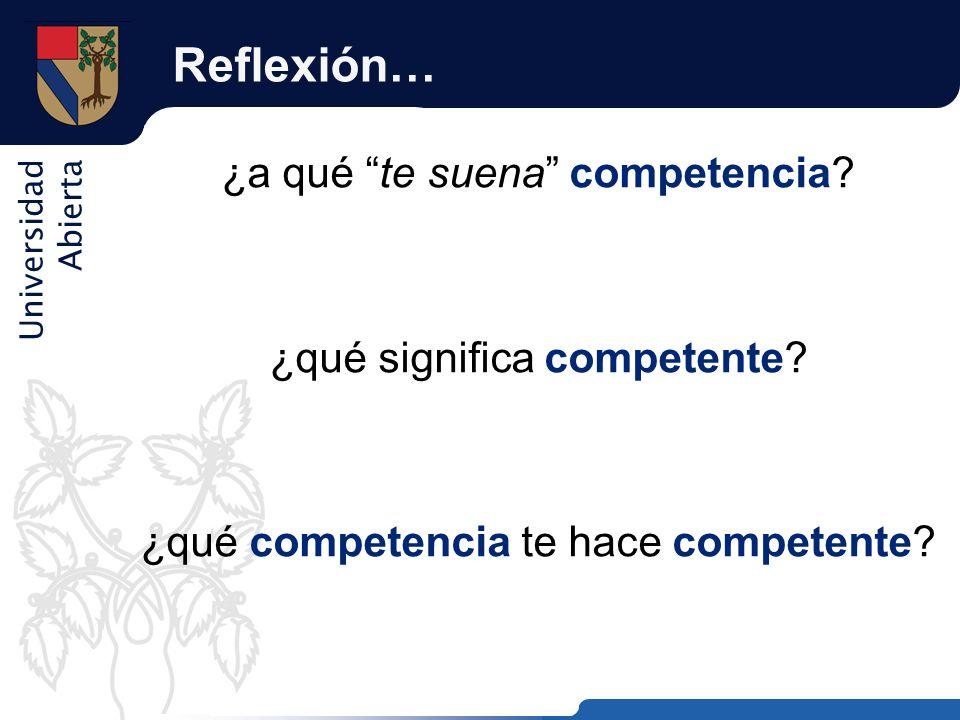 Reflexión… ¿a qué te suena competencia ¿qué significa competente