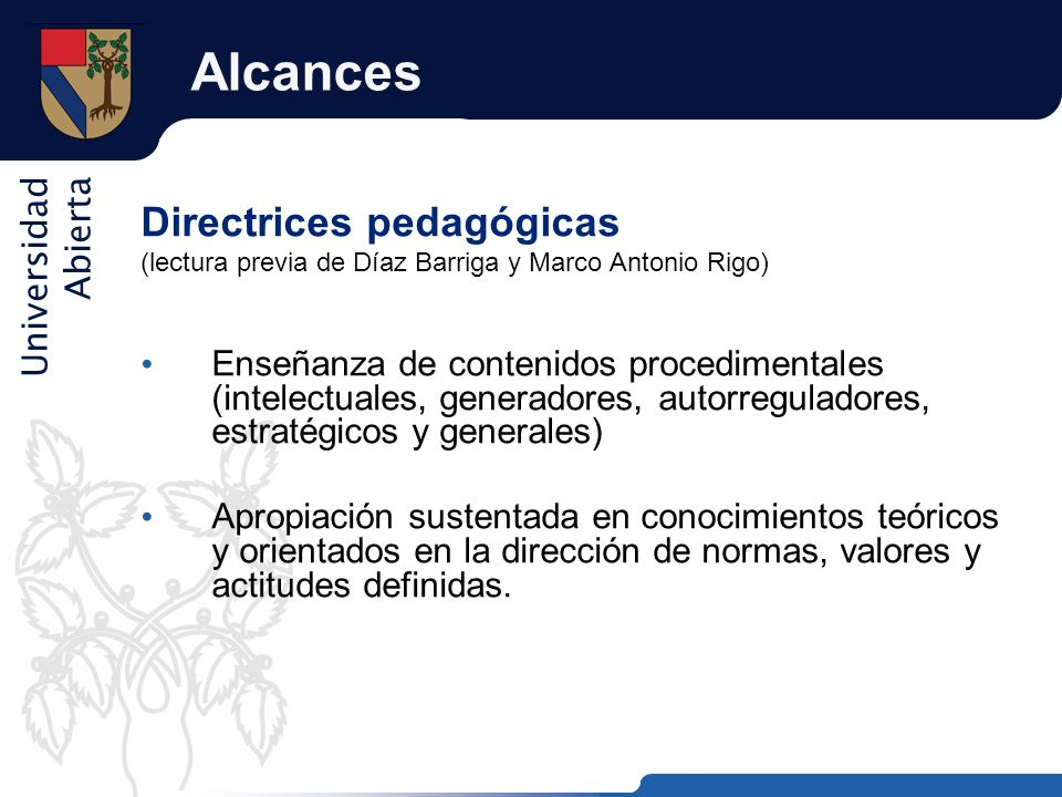Alcances Directrices pedagógicas