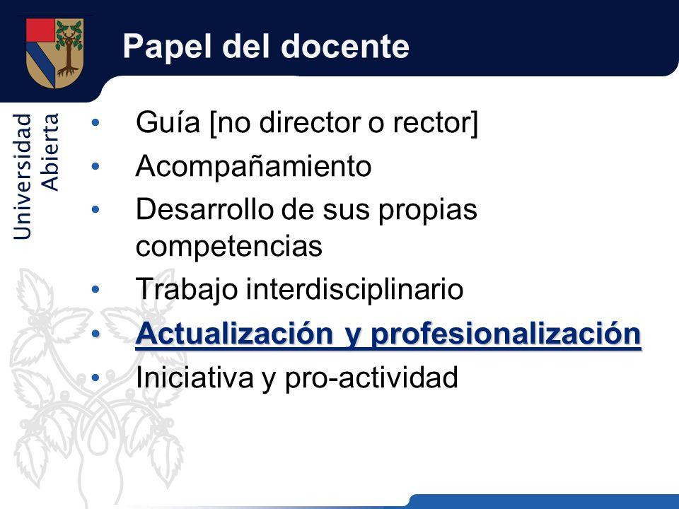 Papel del docente Actualización y profesionalización