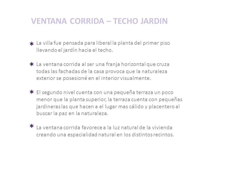 * * * * VENTANA CORRIDA – TECHO JARDIN