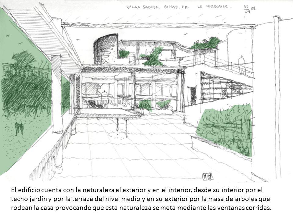 El edificio cuenta con la naturaleza al exterior y en el interior, desde su interior por el techo jardín y por la terraza del nivel medio y en su exterior por la masa de arboles que rodean la casa provocando que esta naturaleza se meta mediante las ventanas corridas.