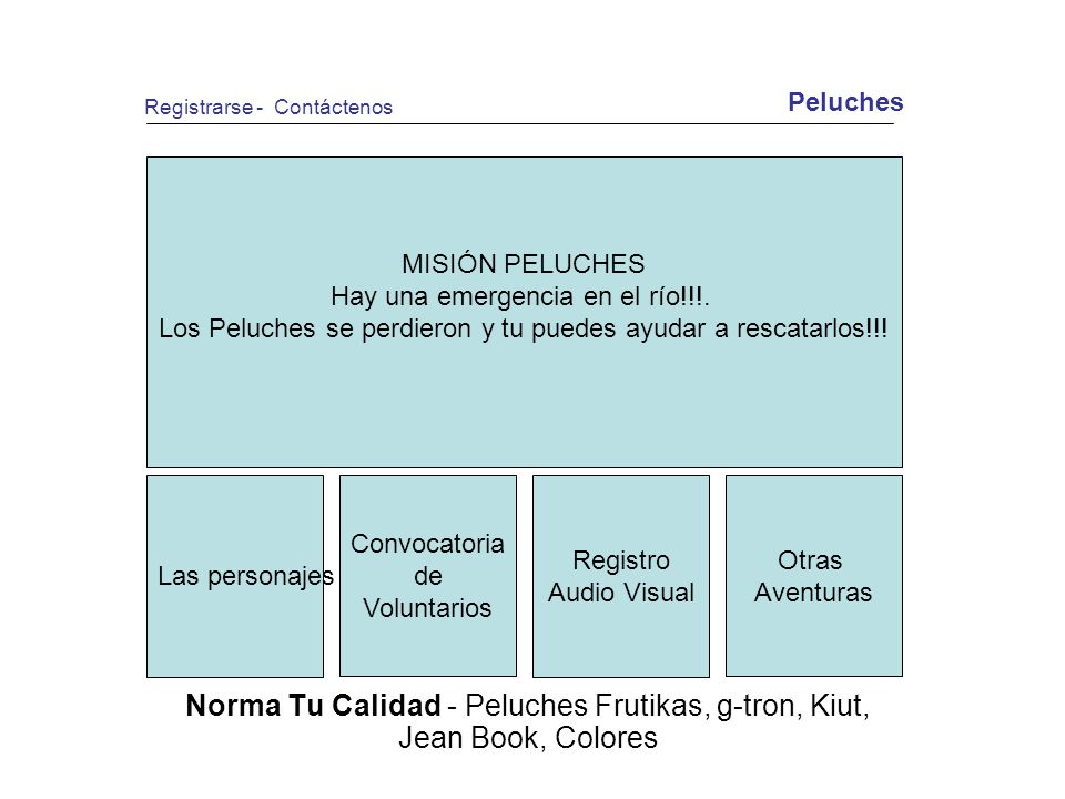 Norma Tu Calidad - Peluches Frutikas, g-tron, Kiut, Jean Book, Colores