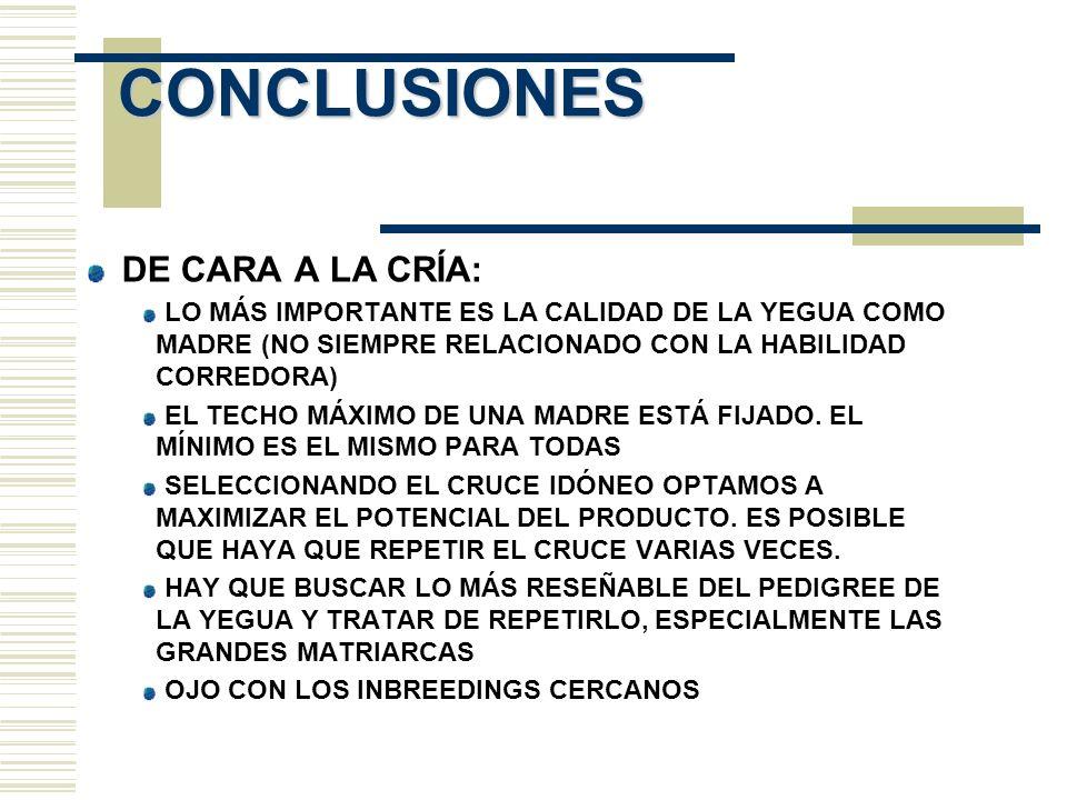 CONCLUSIONES DE CARA A LA CRÍA: