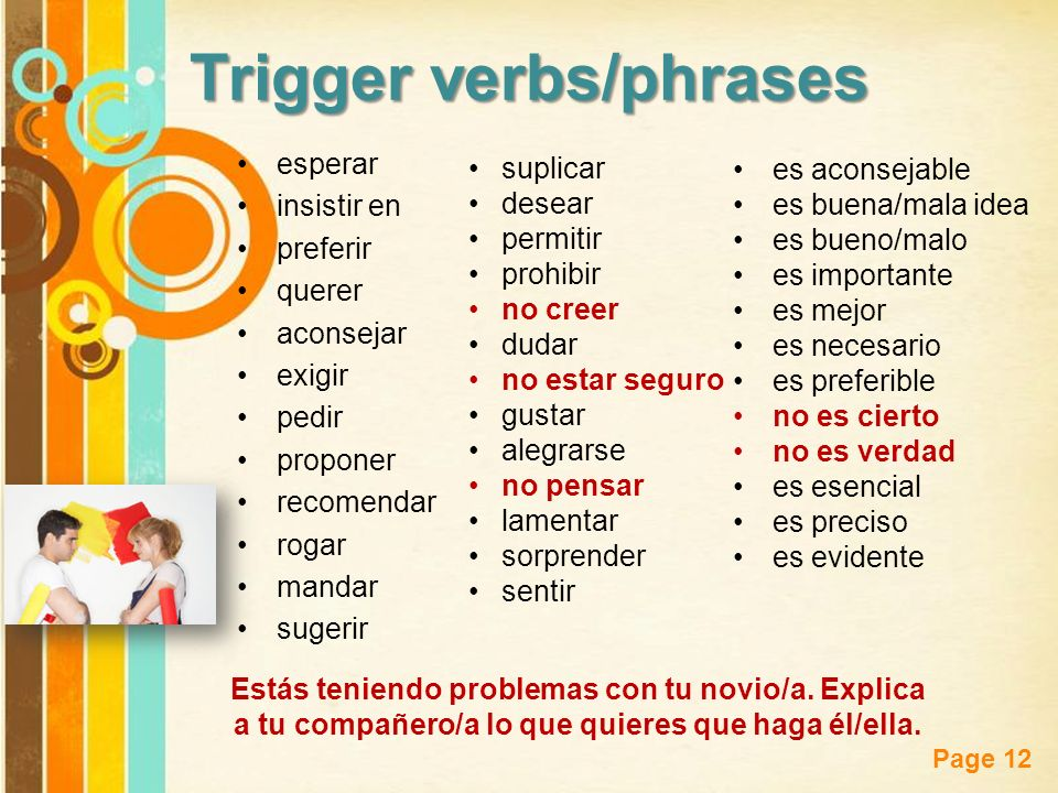 Trigger verbs/phrases