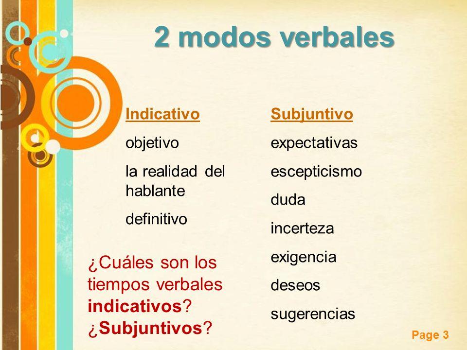 2 modos verbales Indicativo. objetivo. la realidad del hablante. definitivo. Subjuntivo. expectativas.