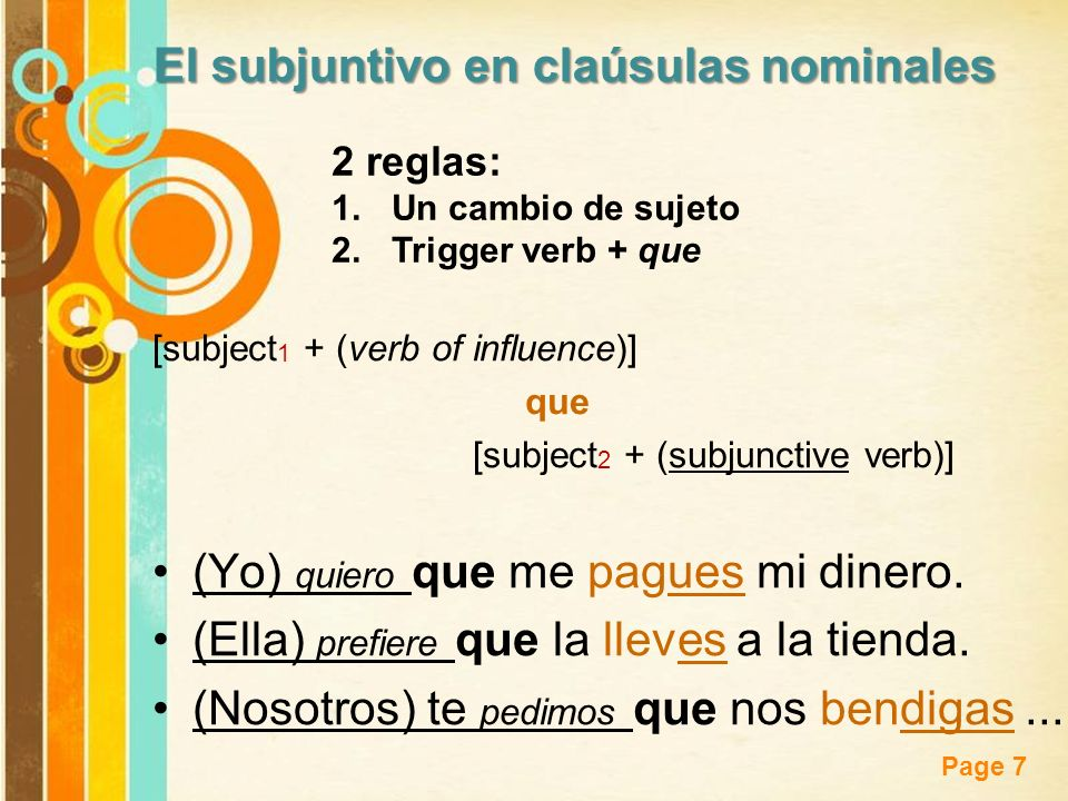 El subjuntivo en claúsulas nominales