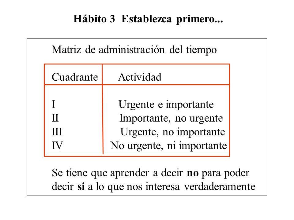 Hábito 3 Establezca primero...