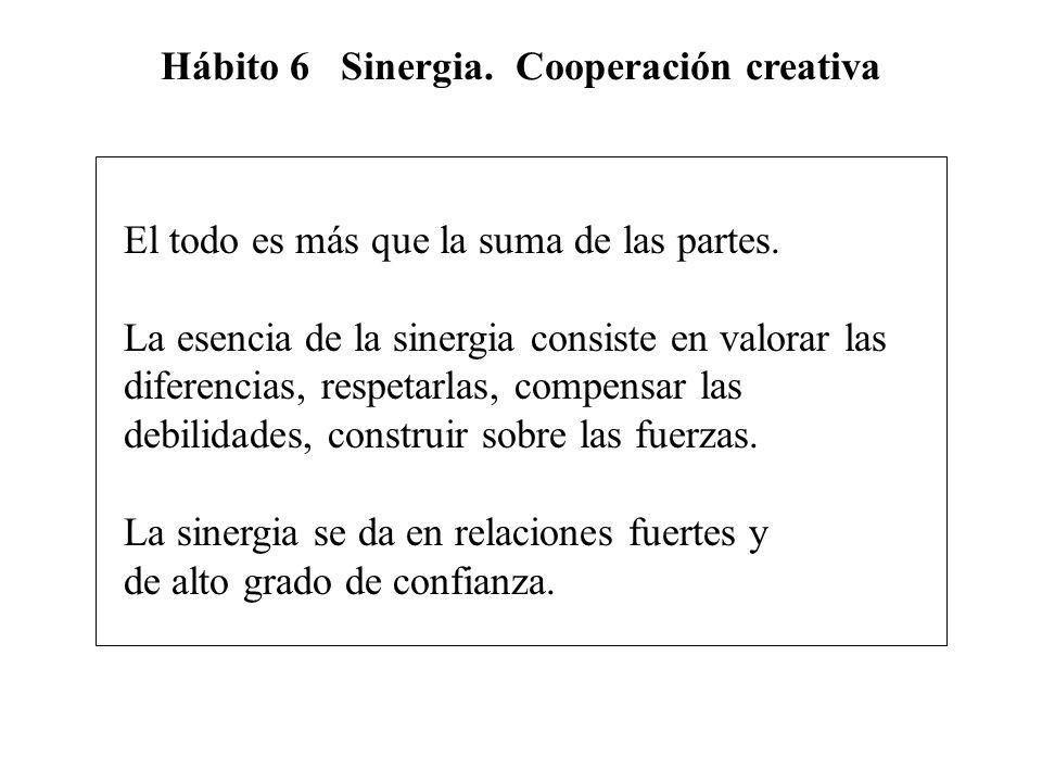 Hábito 6 Sinergia. Cooperación creativa