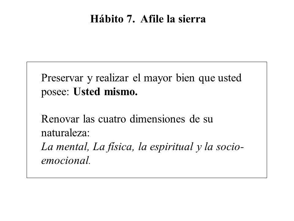 Hábito 7. Afile la sierra Preservar y realizar el mayor bien que usted posee: Usted mismo. Renovar las cuatro dimensiones de su naturaleza: