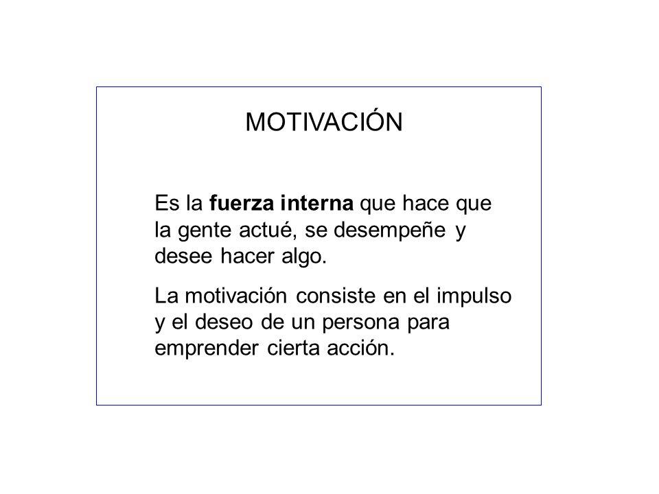 MOTIVACIÓN Es la fuerza interna que hace que la gente actué, se desempeñe y desee hacer algo.