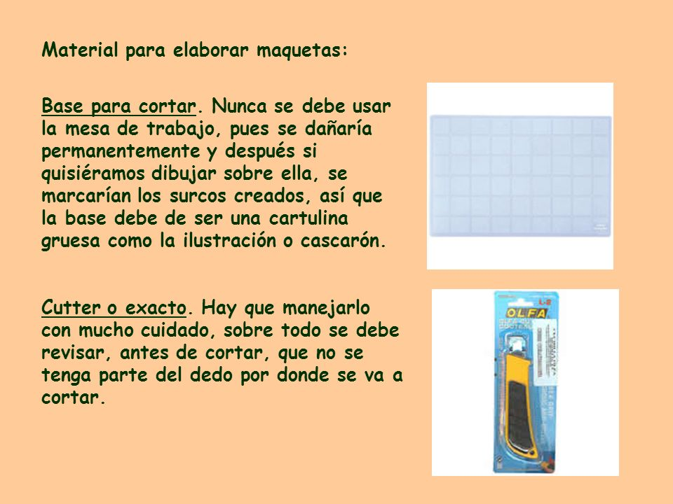 Material para elaborar maquetas: