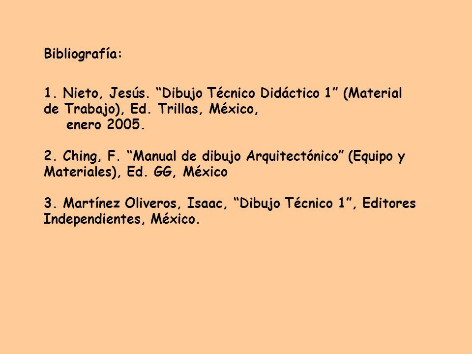 Bibliografía: 1. Nieto, Jesús. Dibujo Técnico Didáctico 1 (Material de Trabajo), Ed. Trillas, México,