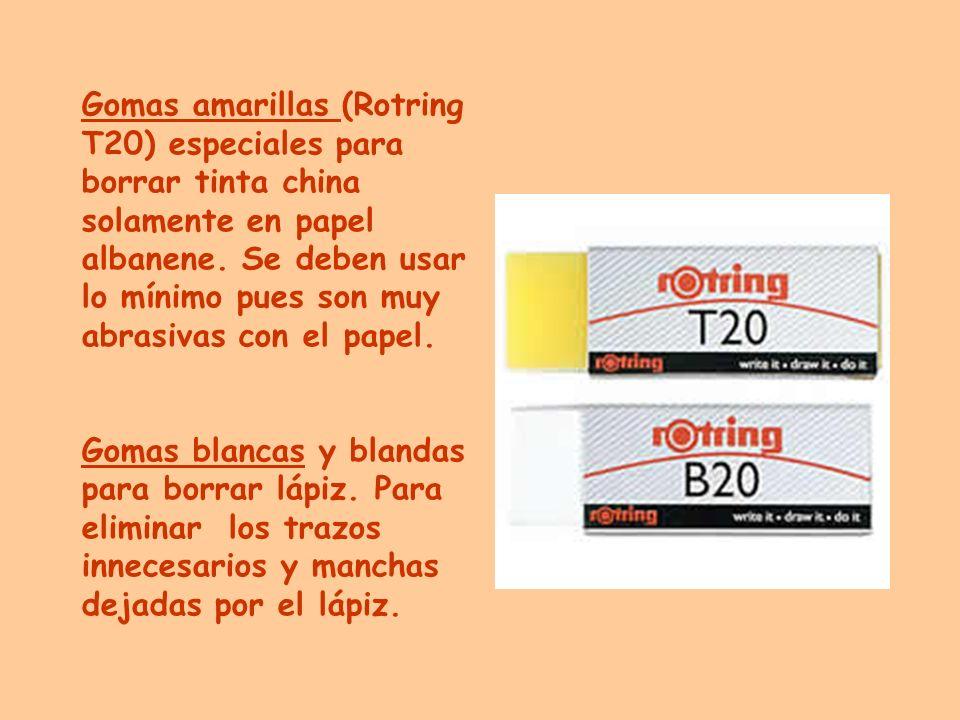 Gomas amarillas (Rotring T20) especiales para borrar tinta china solamente en papel albanene. Se deben usar lo mínimo pues son muy abrasivas con el papel.