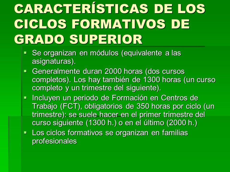 CARACTERÍSTICAS DE LOS CICLOS FORMATIVOS DE GRADO SUPERIOR
