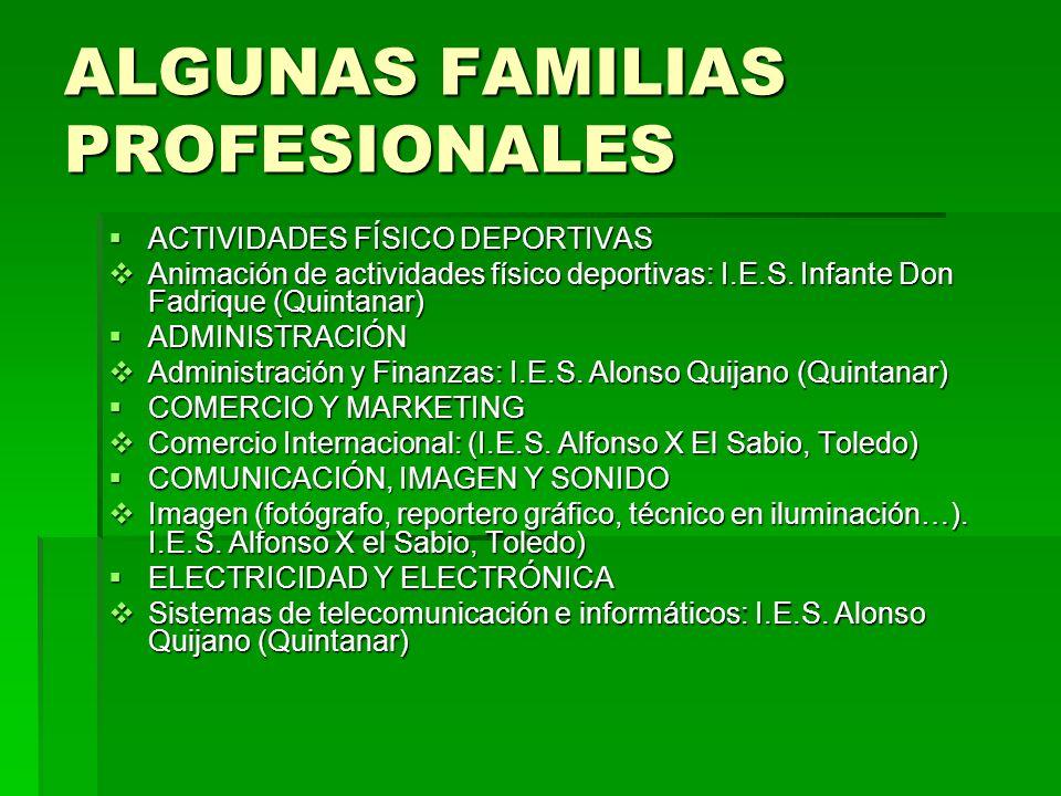 ALGUNAS FAMILIAS PROFESIONALES
