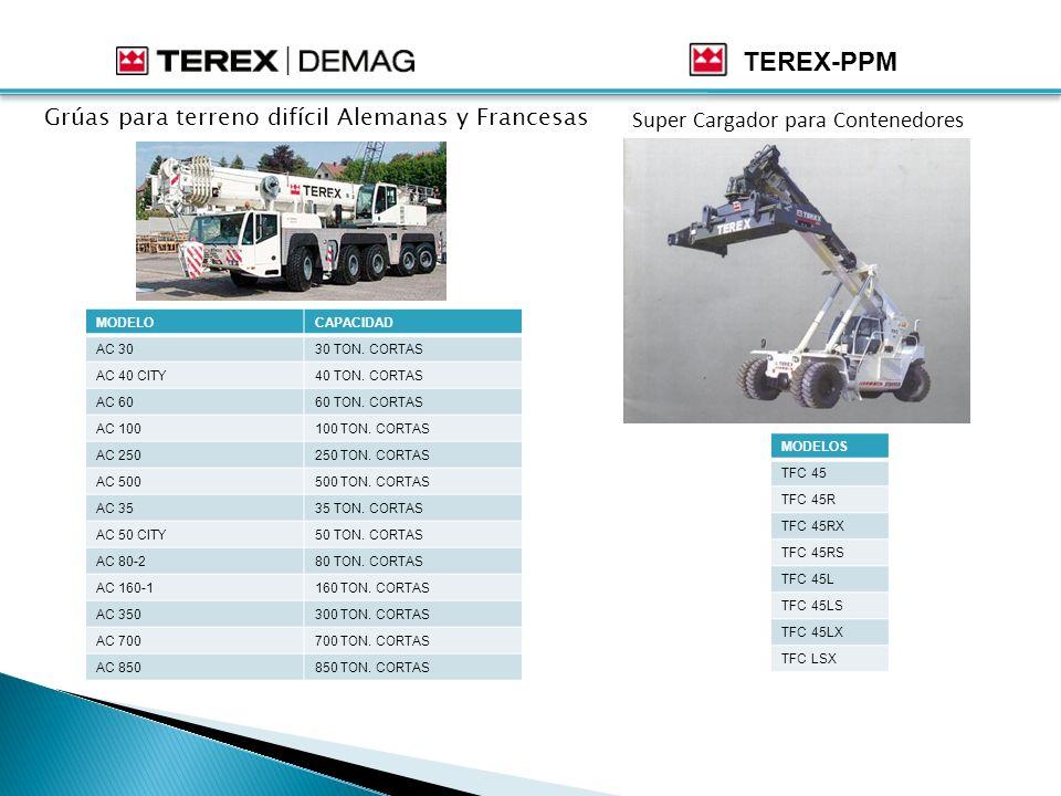 TEREX-PPM Grúas para terreno difícil Alemanas y Francesas