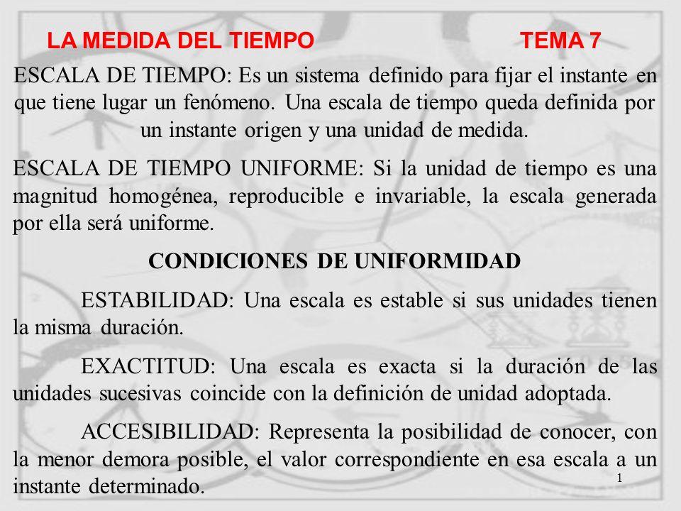 CONDICIONES DE UNIFORMIDAD