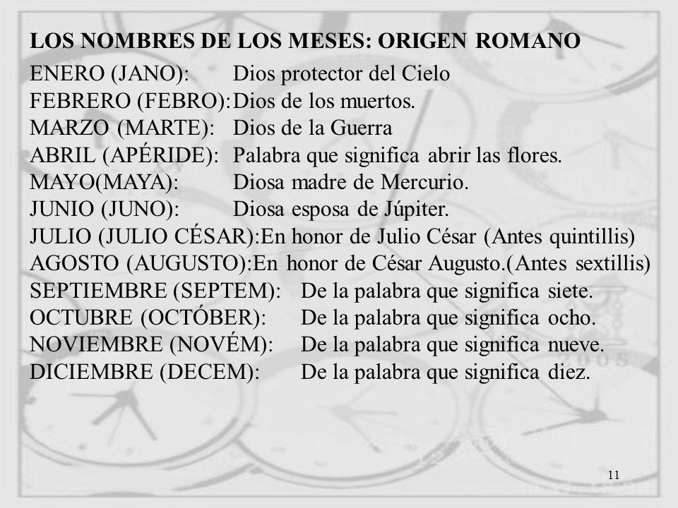 LOS NOMBRES DE LOS MESES: ORIGEN ROMANO