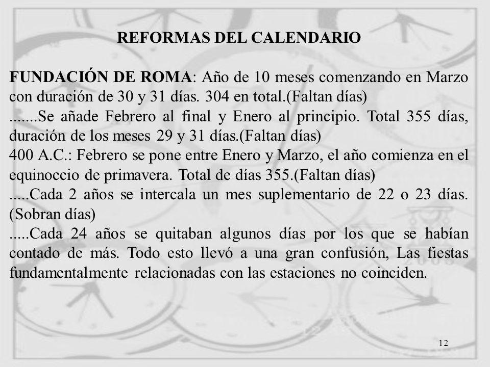 REFORMAS DEL CALENDARIO