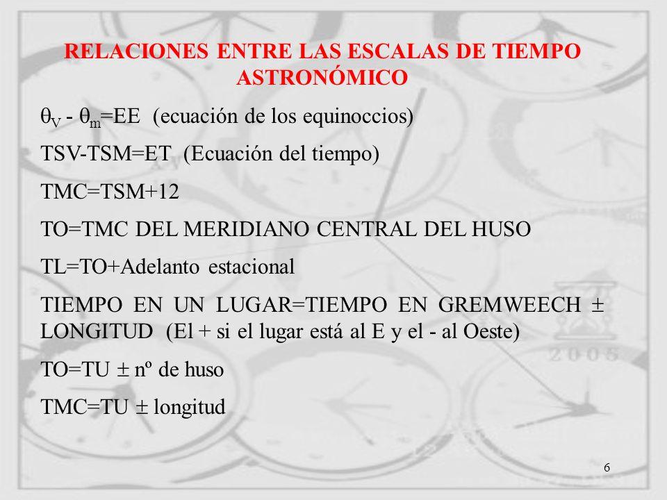 RELACIONES ENTRE LAS ESCALAS DE TIEMPO ASTRONÓMICO