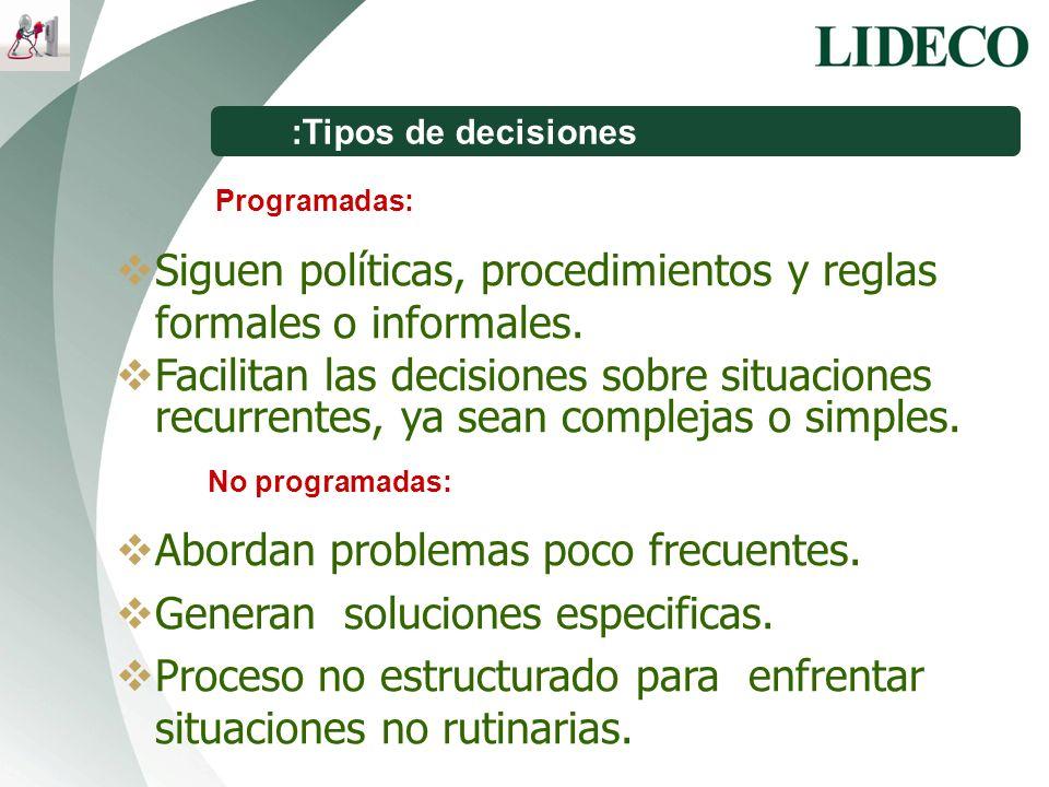 Siguen políticas, procedimientos y reglas formales o informales.