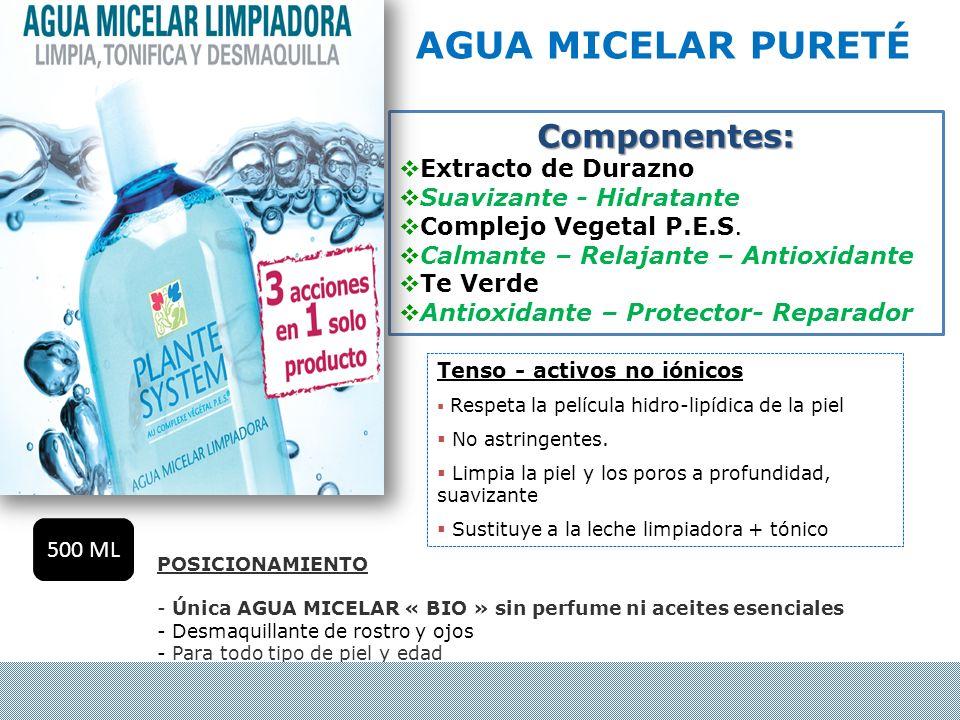 AGUA MICELAR PURETÉ Componentes: Extracto de Durazno