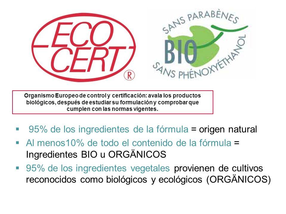 95% de los ingredientes de la fórmula = origen natural