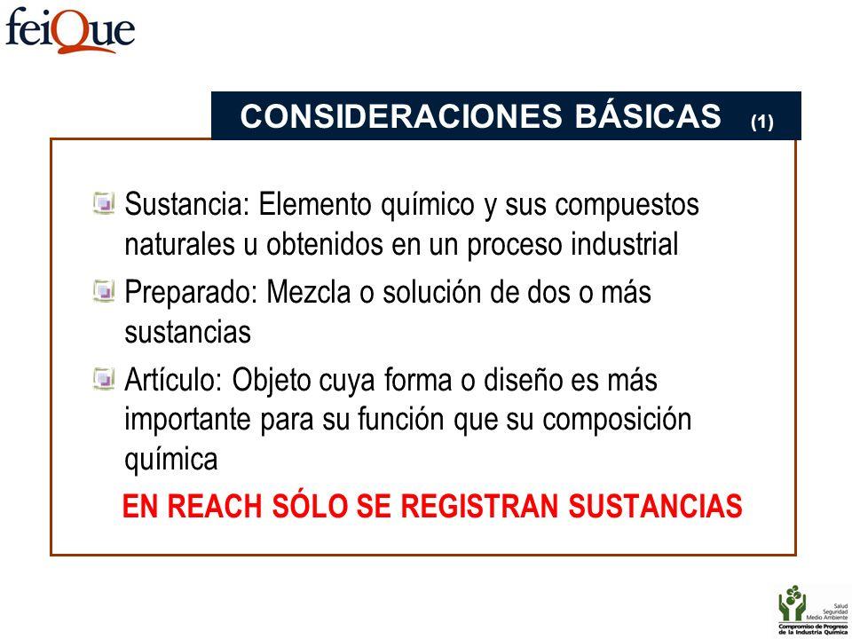 CONSIDERACIONES BÁSICAS (1) EN REACH SÓLO SE REGISTRAN SUSTANCIAS