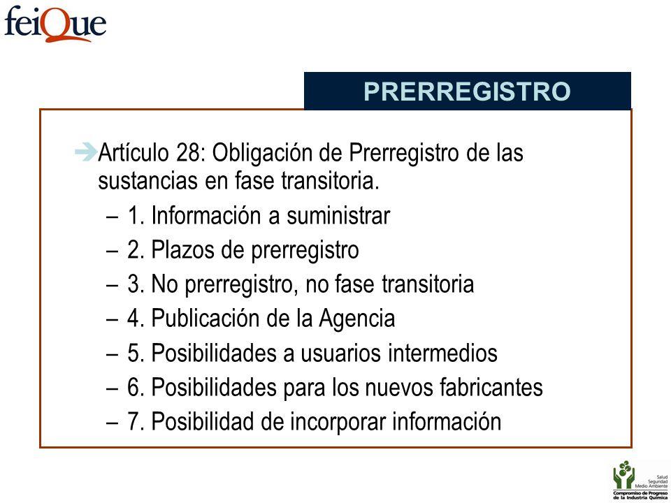 PRERREGISTRO Artículo 28: Obligación de Prerregistro de las sustancias en fase transitoria. 1. Información a suministrar.