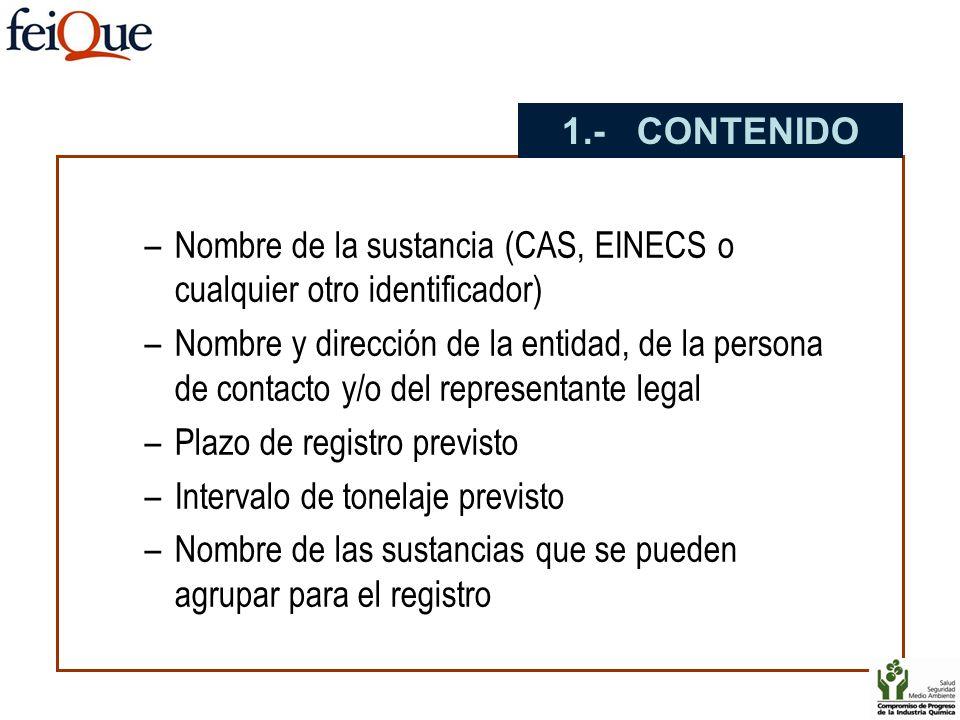 1.- CONTENIDO Nombre de la sustancia (CAS, EINECS o cualquier otro identificador)