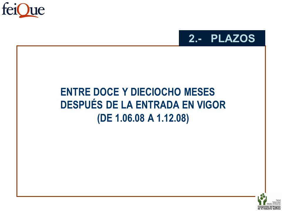 2.- PLAZOS ENTRE DOCE Y DIECIOCHO MESES DESPUÉS DE LA ENTRADA EN VIGOR (DE 1.06.08 A 1.12.08)