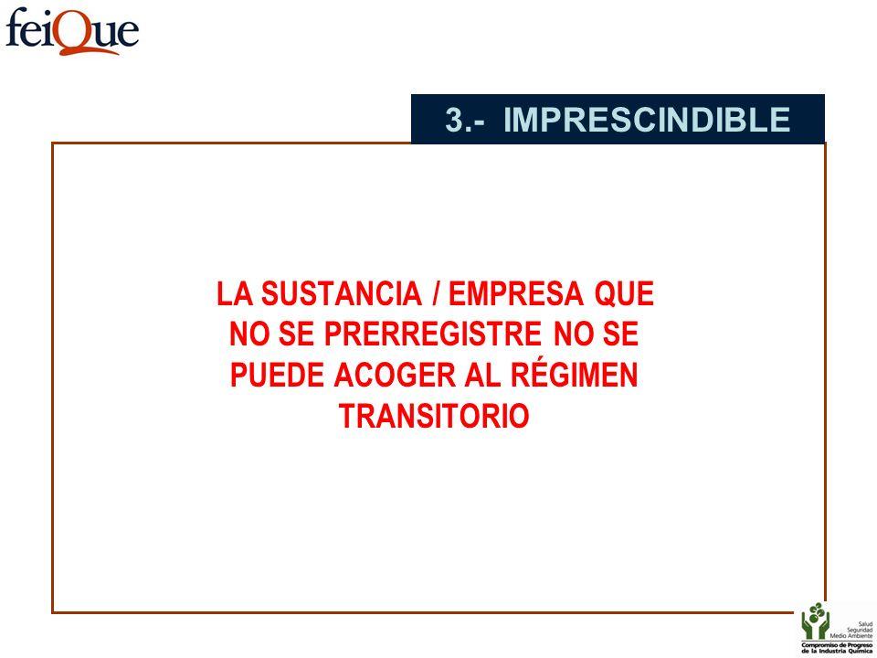3.- IMPRESCINDIBLE LA SUSTANCIA / EMPRESA QUE NO SE PRERREGISTRE NO SE PUEDE ACOGER AL RÉGIMEN TRANSITORIO.